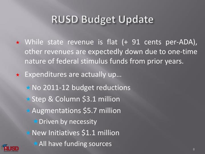 RUSD Budget Update