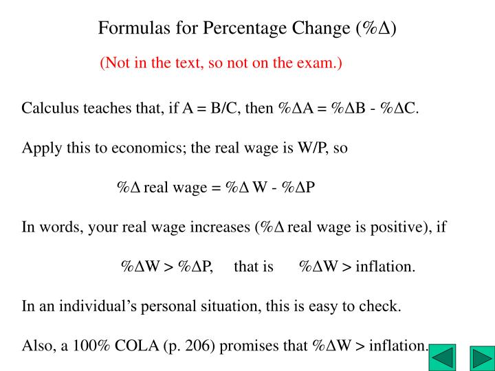 Formulas for Percentage Change (%