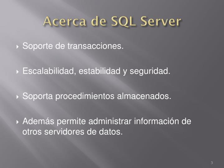 Acerca de SQL Server