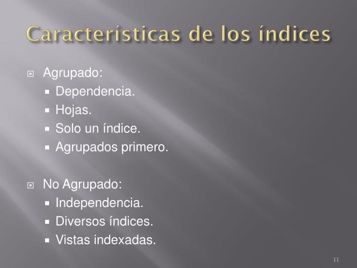 Características de los índices