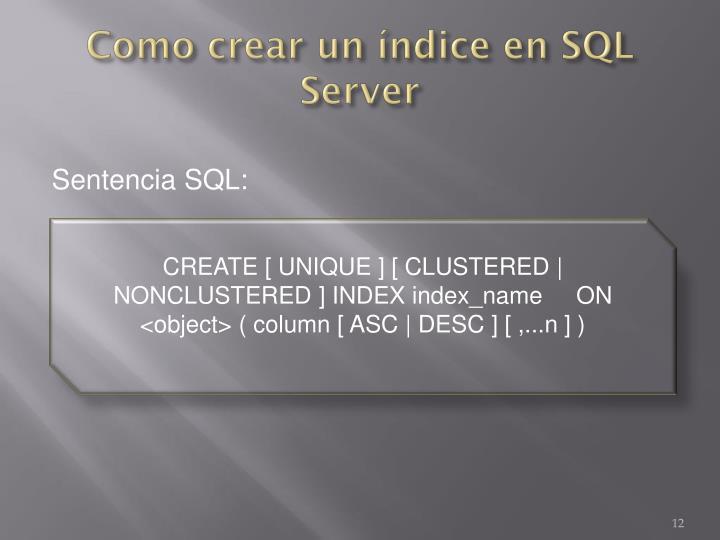 Como crear un índice en SQL Server
