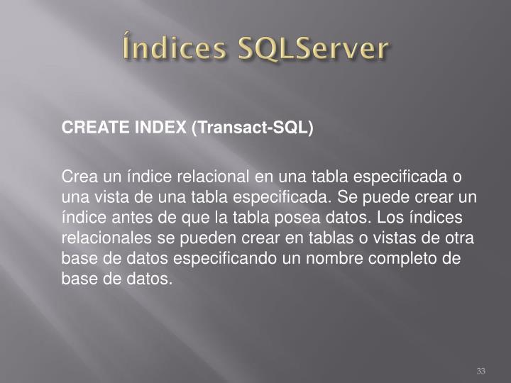Índices SQLServer