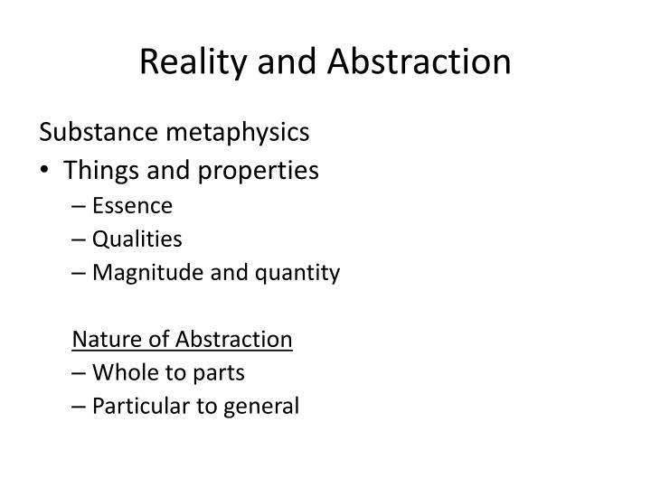 Reality and Abstraction