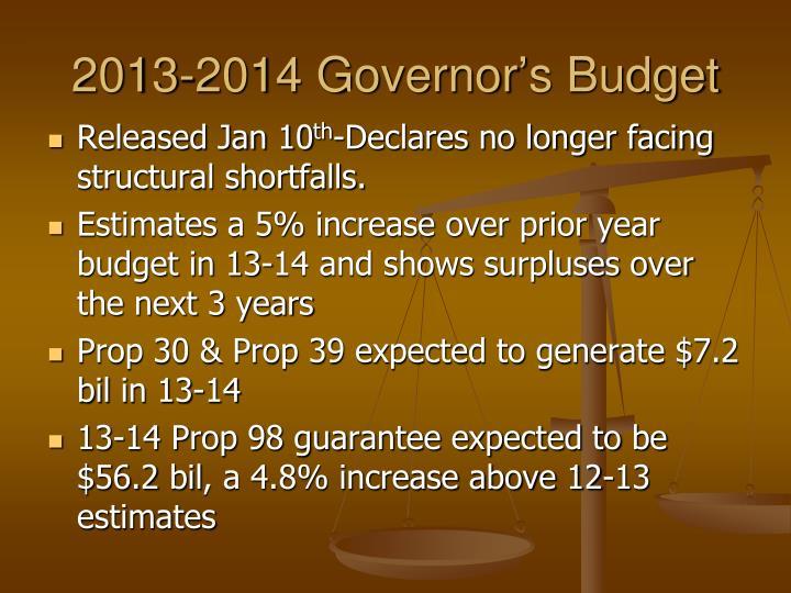 2013-2014 Governor's Budget