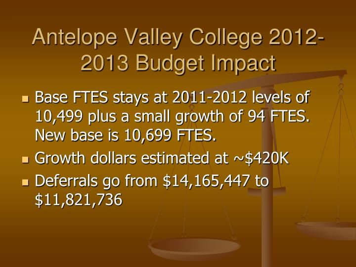 Antelope valley college 2012 2013 budget impact