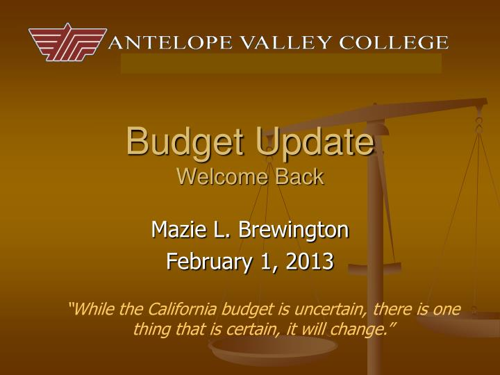 budget update welcome back