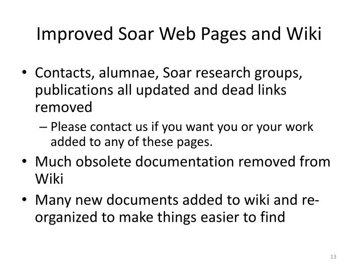 Improved Soar Web Pages and Wiki