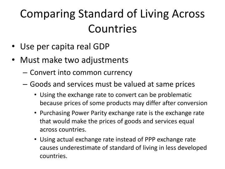 Comparing Standard of Living Across Countries