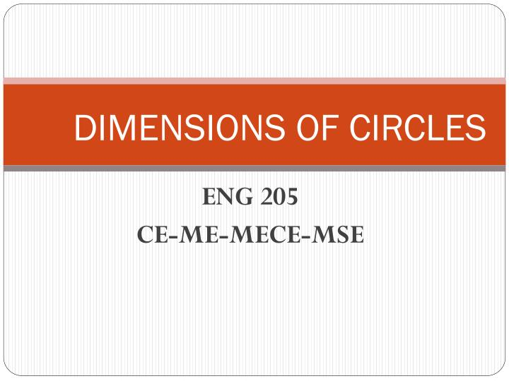 Dimensions of circles