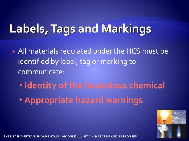 Labels, Tags and Markings
