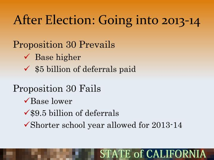 After Election: Going into 2013-14