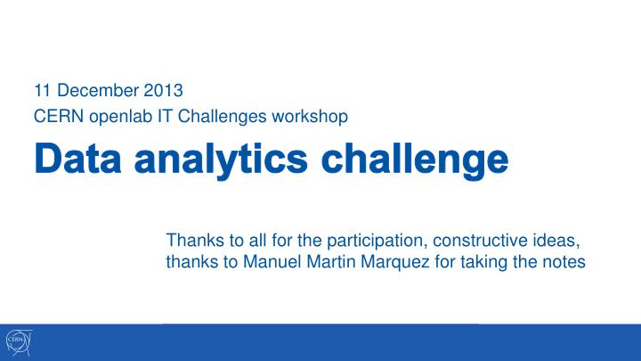 Data analytics challenge