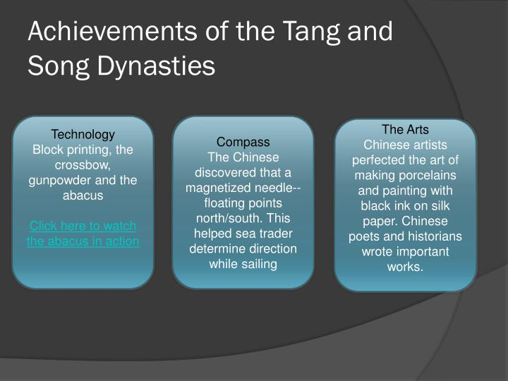 Achievements of the Tang and Song Dynasties