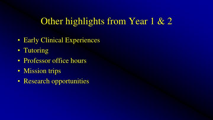 Other highlights from Year 1 & 2