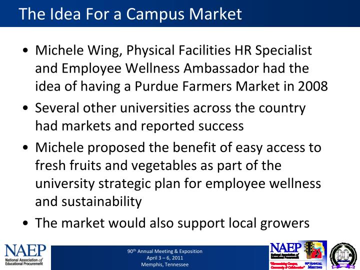 The Idea For a Campus Market