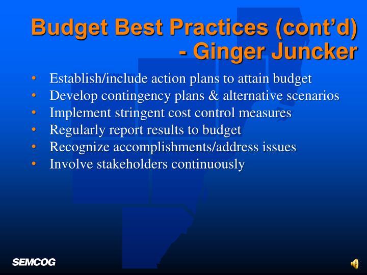 Budget Best Practices (cont'd)
