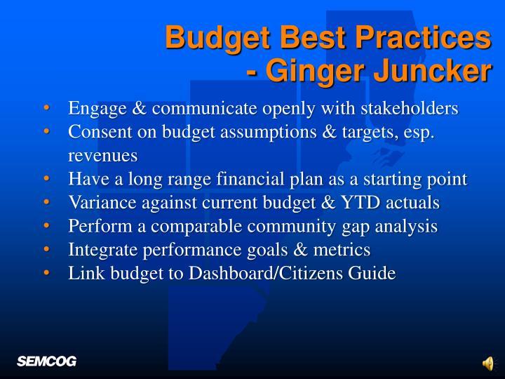 Budget Best Practices