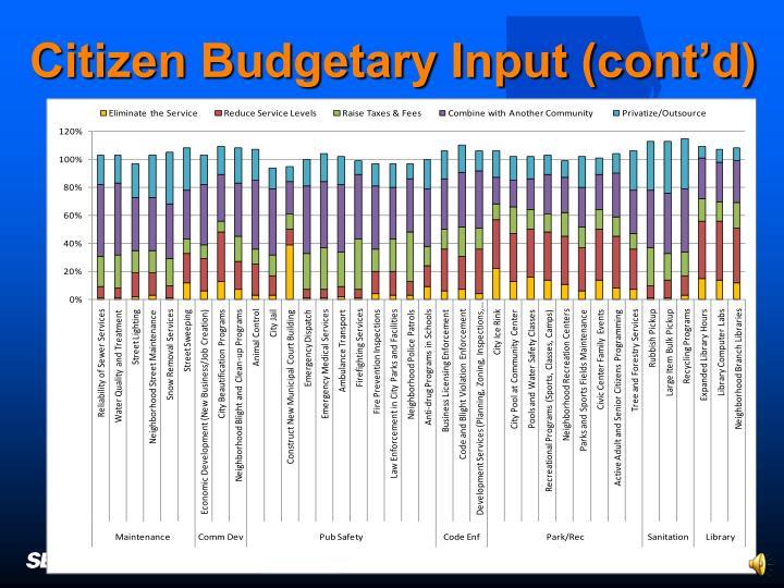 Citizen Budgetary Input (cont'd)