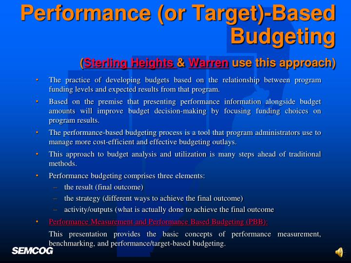 Performance (or Target)-Based Budgeting
