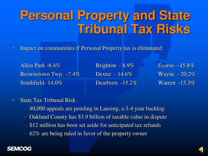 Personal Property and State Tribunal Tax Risks