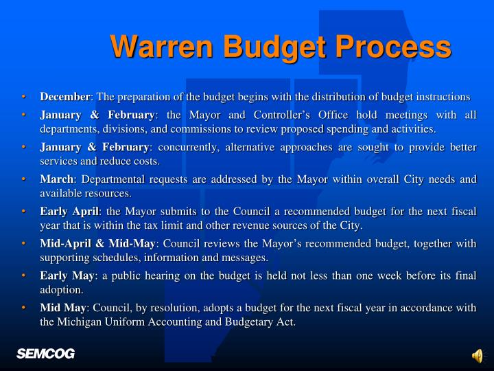 Warren Budget Process
