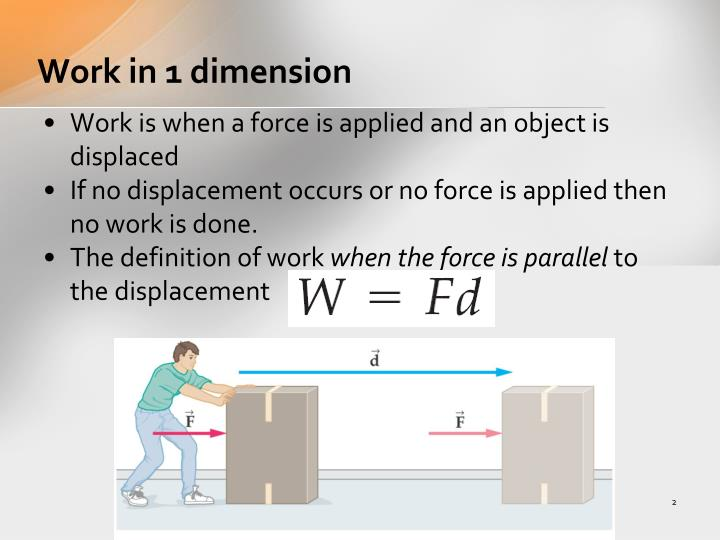Work in 1 dimension