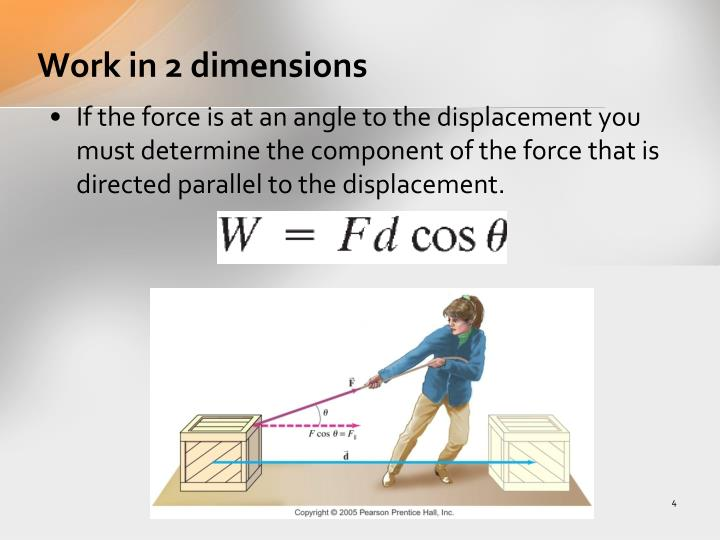 Work in 2 dimensions