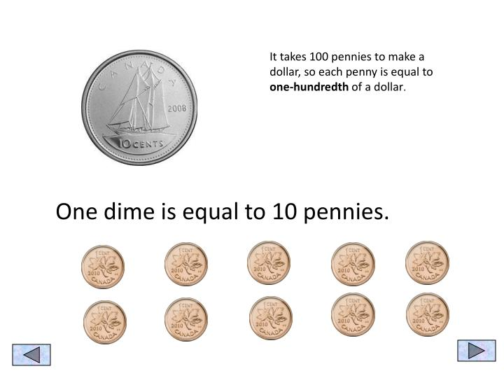 It takes 100 pennies to make a dollar, so each penny is equal to