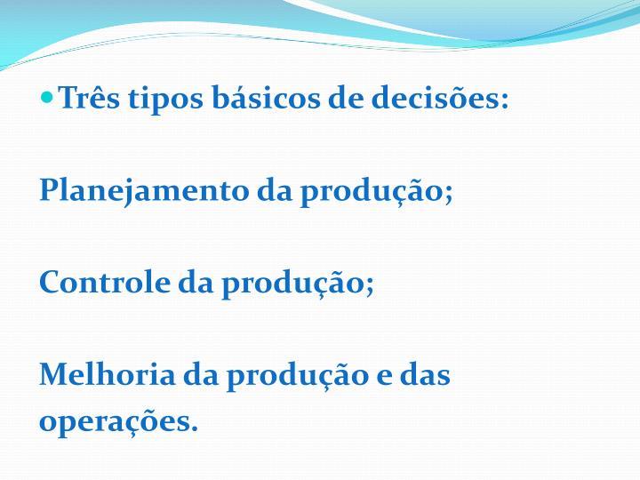 Três tipos básicos de decisões: