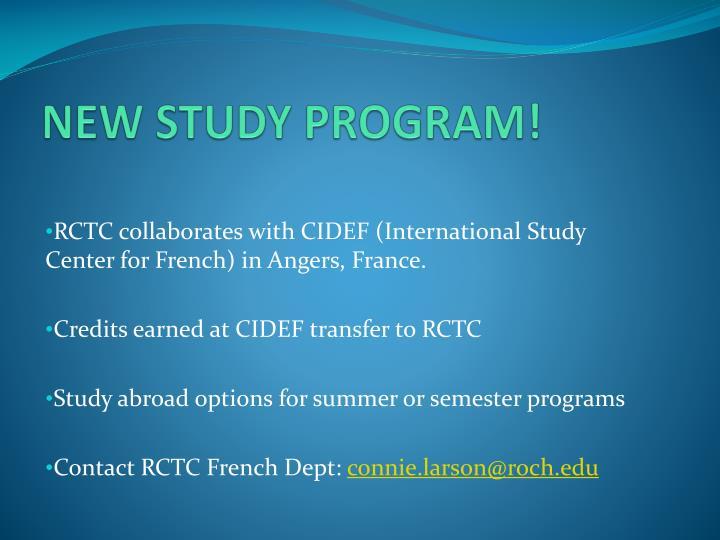 NEW STUDY PROGRAM!