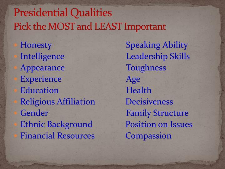 Presidential Qualities