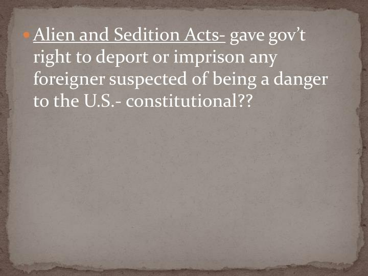 Alien and Sedition Acts-