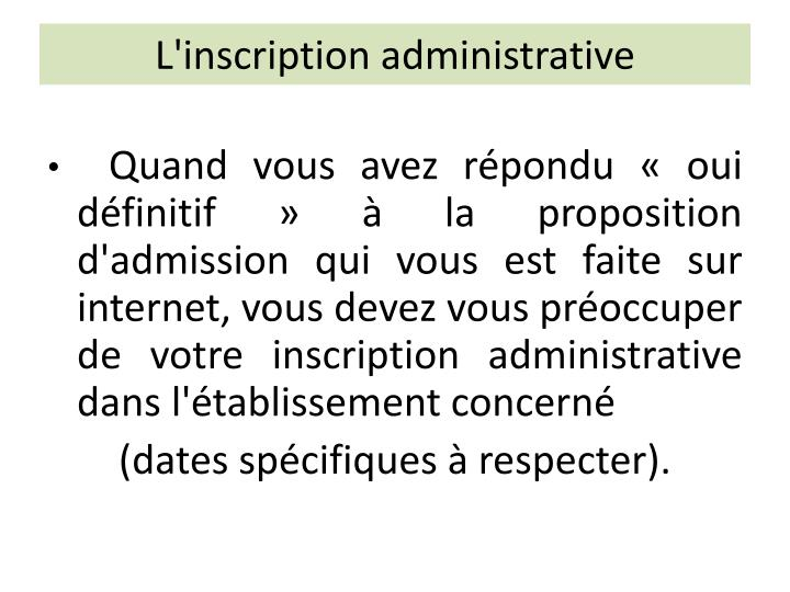 L'inscription administrative