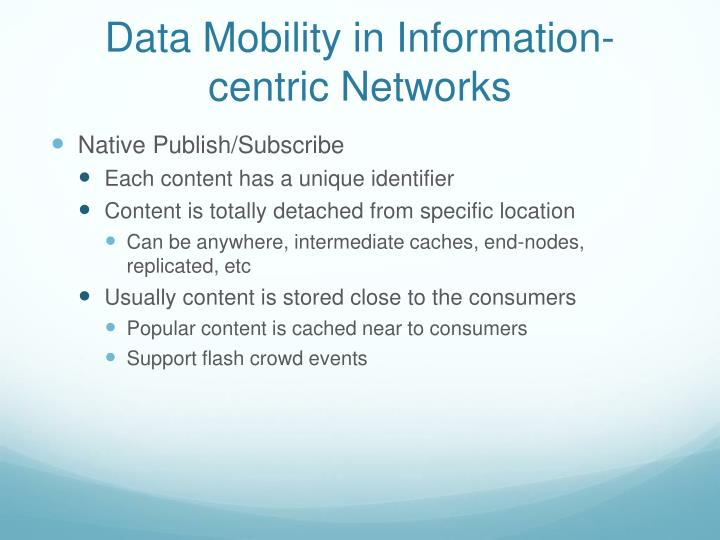 Data Mobility in Information-centric Networks