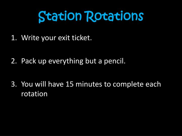 Station Rotations