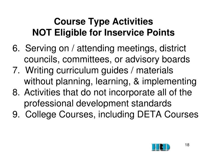 Course Type Activities