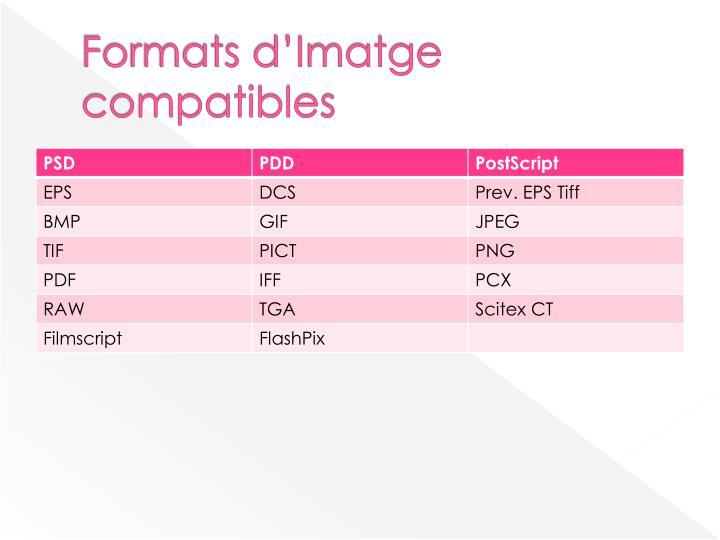 Formats d'Imatge compatibles