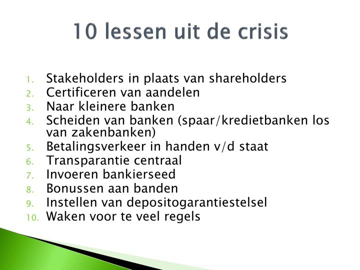 10 lessen uit de crisis