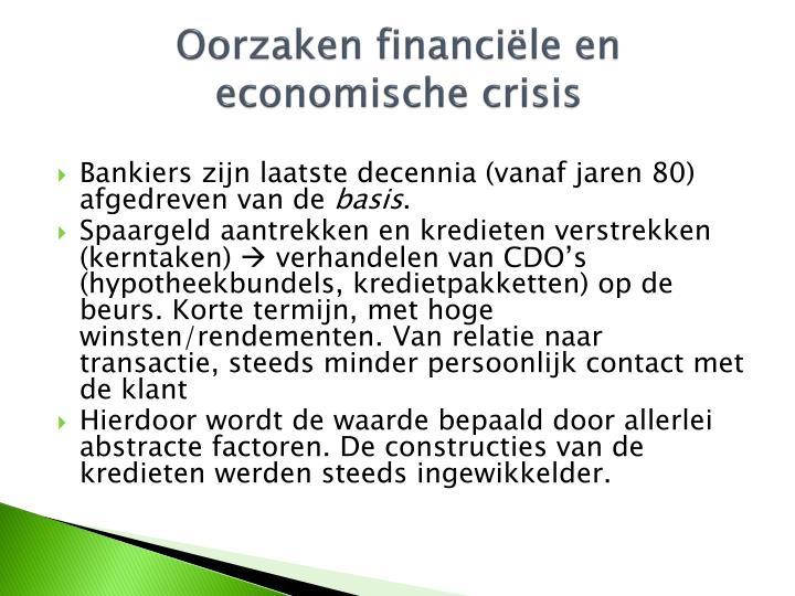 Oorzaken financiële en economische crisis