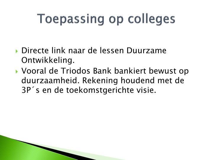 Toepassing op colleges