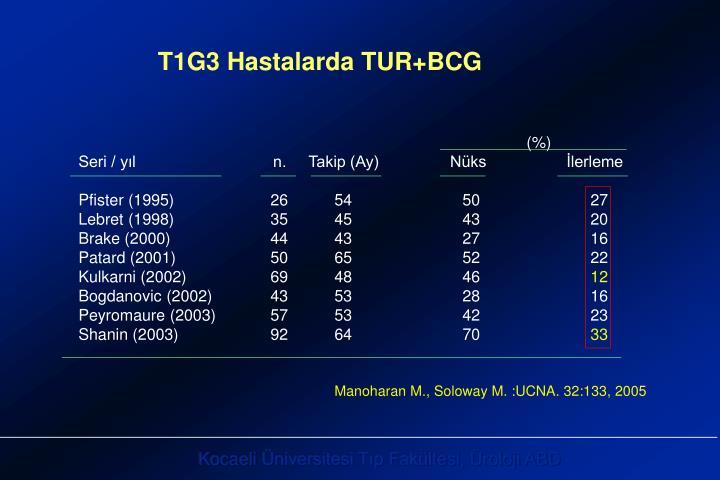 T1G3 Hastalarda TUR+BCG