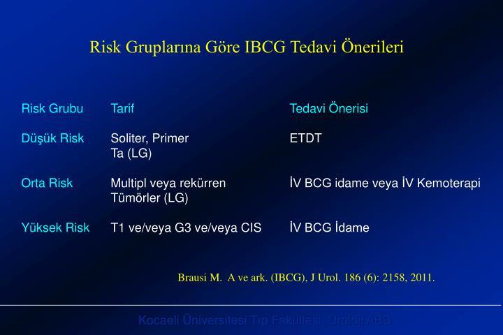 Risk Gruplarına Göre IBCG Tedavi Önerileri