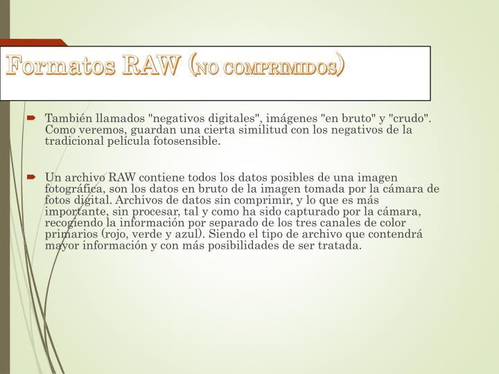 Formatos RAW (