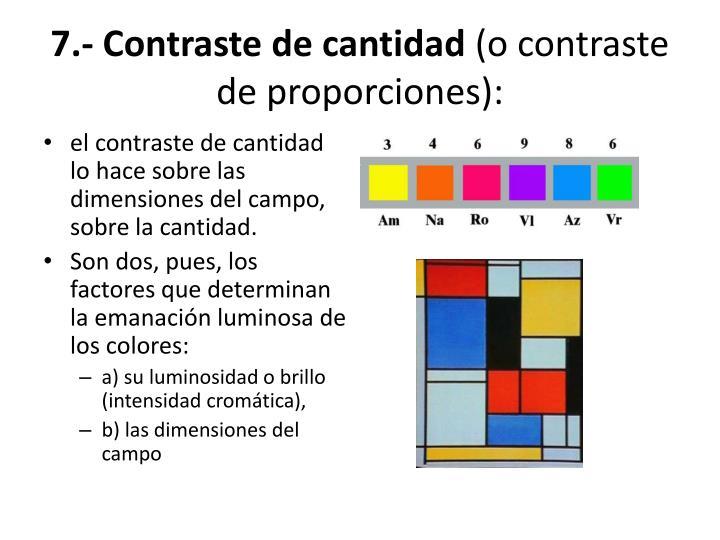 7.- Contraste de cantidad