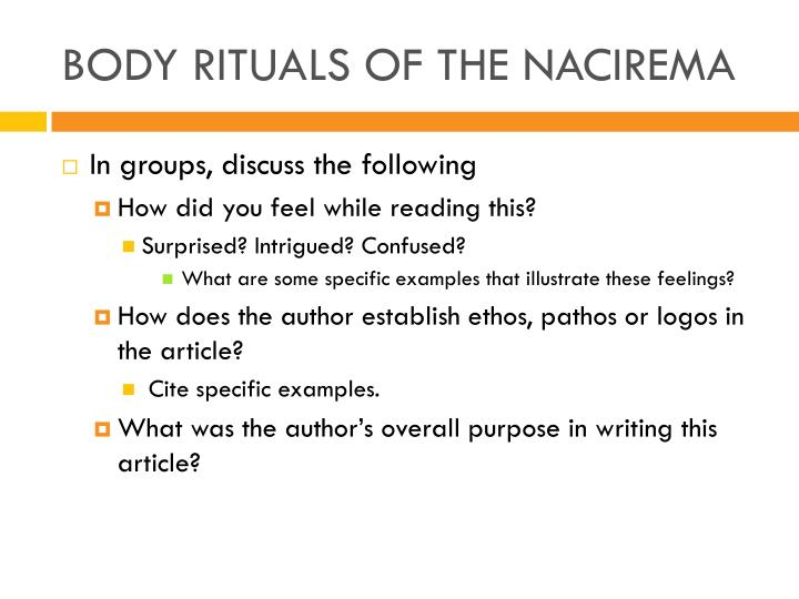 Body rituals of the nacirema