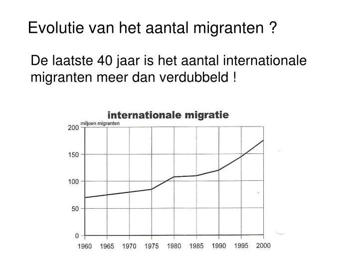 Evolutie van het aantal migranten ?