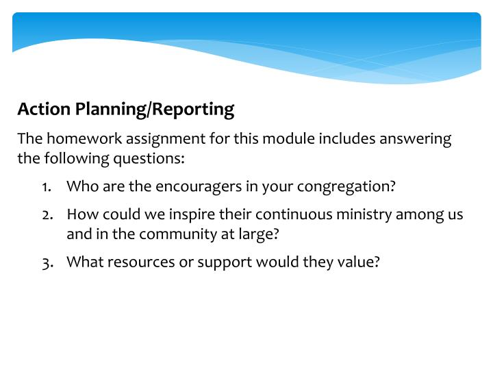 Action Planning/Reporting