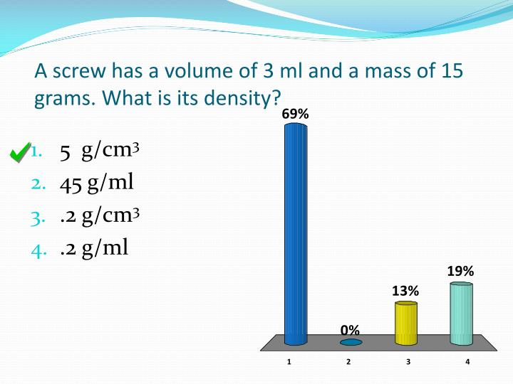 A screw has a volume of 3 ml and a mass of 15 grams. What is its density?