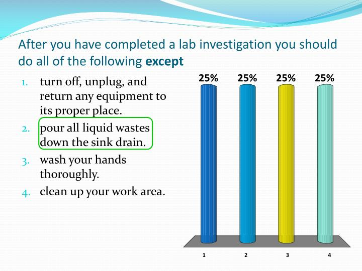 After you have completed a lab investigation you should do all of the following