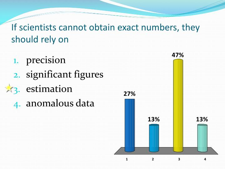 If scientists cannot obtain exact numbers, they should rely on